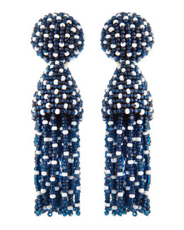 Oscar de la Renta Short Dotted Beaded Tassel Clip-On Earrings, Lapis Blue
