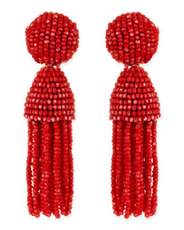 Oscar de la Renta Short Beaded Tassel Clip-On Earrings, Clementine