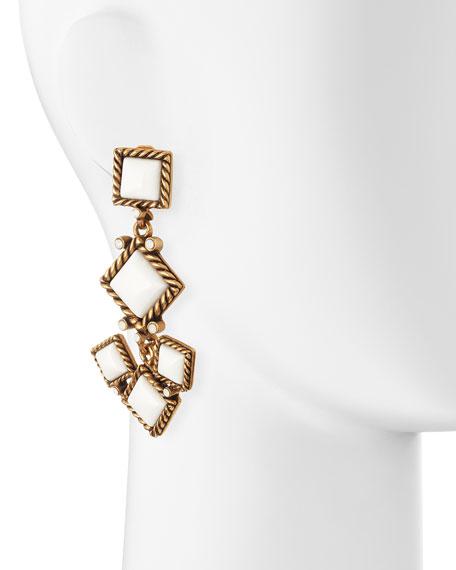 Diamond-Shaped Resin Clip-On Earrings, White