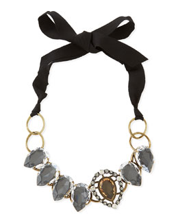 Lanvin Short Ribbon Necklace with Crystal Bib