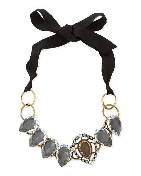 Short Ribbon Necklace with Crystal Bib