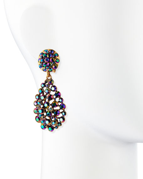 Bold Pear-Cut Cluster Drop Clip-On Earrings, Blue