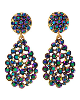 Oscar de la Renta Bold Pear-Cut Cluster Drop Clip-On Earrings, Blue