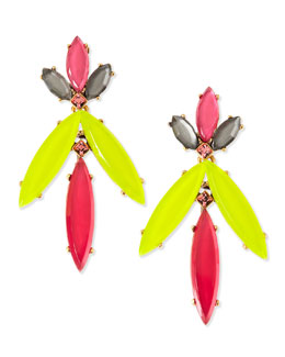 Oscar de la Renta Marquise Resin Drop Clip-On Earrings, Pink/Yellow/Multi