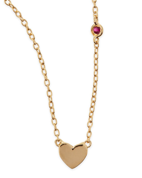Heart Bezel-Ruby Pendant Necklace
