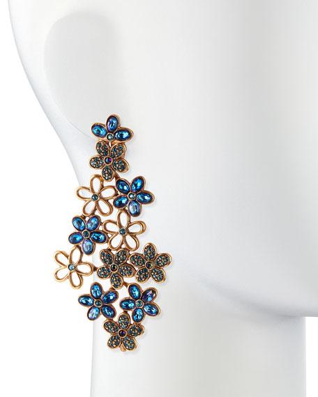 Crystal Daisy Clip-On Earrings, Blue