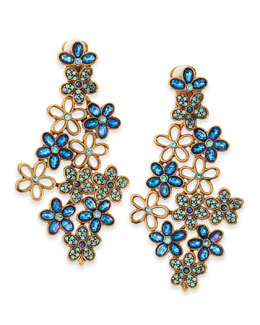 Oscar de la Renta Crystal Daisy Clip-On Earrings, Blue