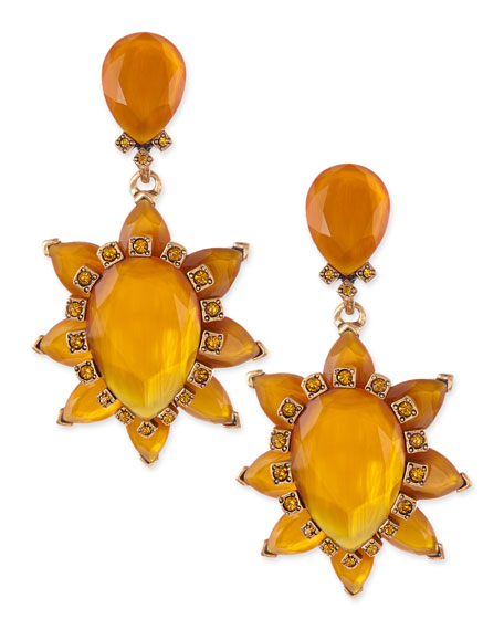 Bold Pear-Cut Cluster Drop Clip-On Earrings, Orange