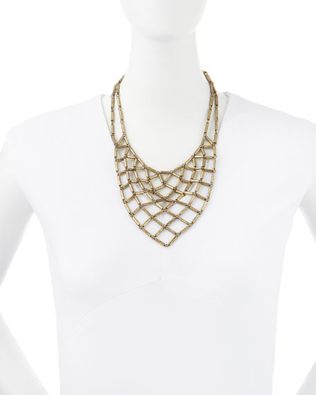 Hammered Brass Bib Necklace