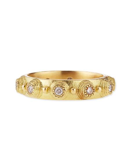 18k Yellow Gold Diamond Bezel Stackable Ring