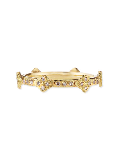 18k Yellow Gold Stackable Ring with Diamond Crivelli Crosses