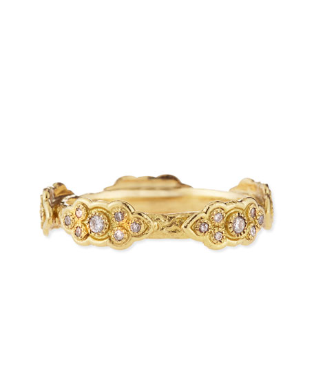 18k Yellow Gold Stackable Ring with Diamond Scrolls