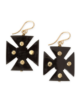 Ashley Pittman Araba Dark Horn Maltese Cross Earrings