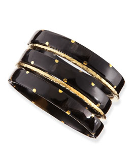Ashley Pittman Makali Dark Horn Bangles, Set of 5