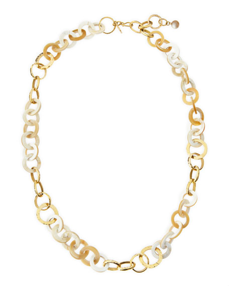 Ashley Pittman Mawani Light Horn & Bronze Necklace