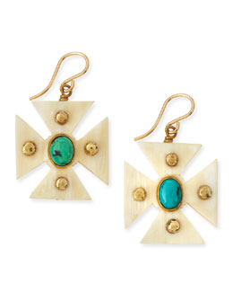 Ashley Pittman Araba Light Horn Turquoise Maltese Cross Earrings