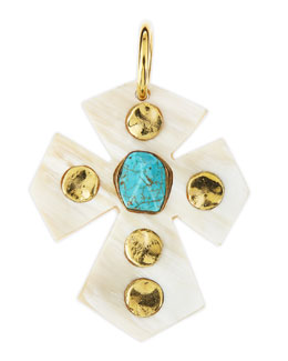 Ashley Pittman Mwamba Light Horn Cross Pendant with Turquoise