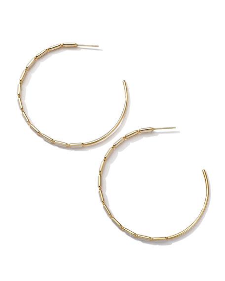 18k Gold Rock Candy Gelato Rectangular Hoop Earrings, Mother-of-Pearl