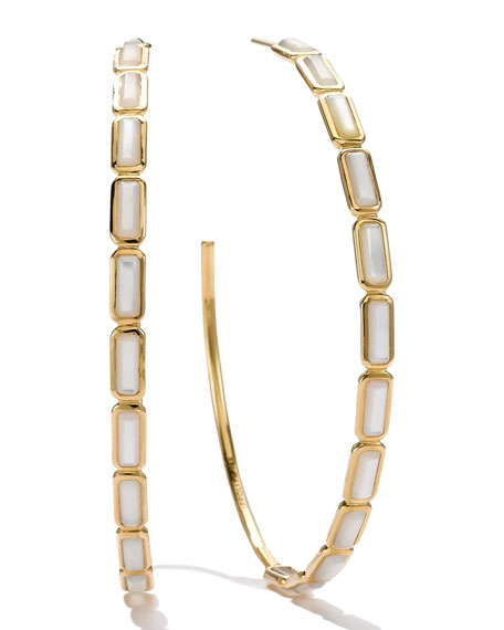 18k Gold Rock Candy Gelato Rectangular Hoop Earrings,