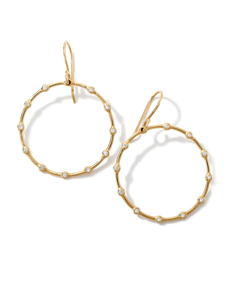 Ippolita 18K Gold Stardust Diamond Circle Earrings (0.16ctw)