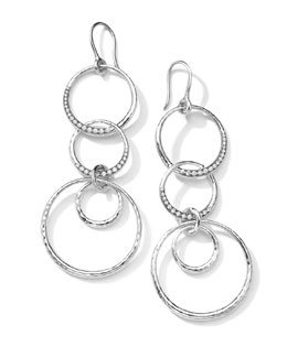 Ippolita Sterling Silver Multi-Circle Drop Earrings with Diamonds (0.43ctw)