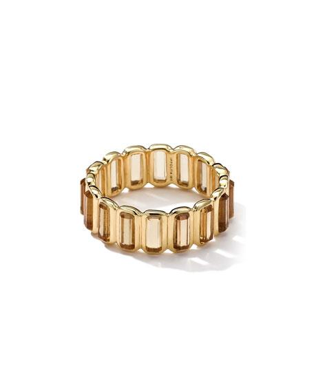 18k Gold Rock Candy Gelato Mini-Stone Vertical Ring, Cognac