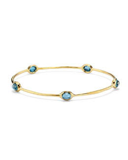 18K Gold Lollipop 5-Stone Bangle in London Blue Topaz