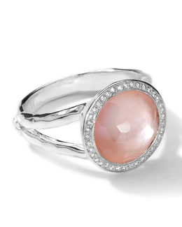 Ippolita Sterling Silver Stella Mini Lollipop Ring in Pink Mother-of-Pearl w/Diamonds (0.15 ctw)