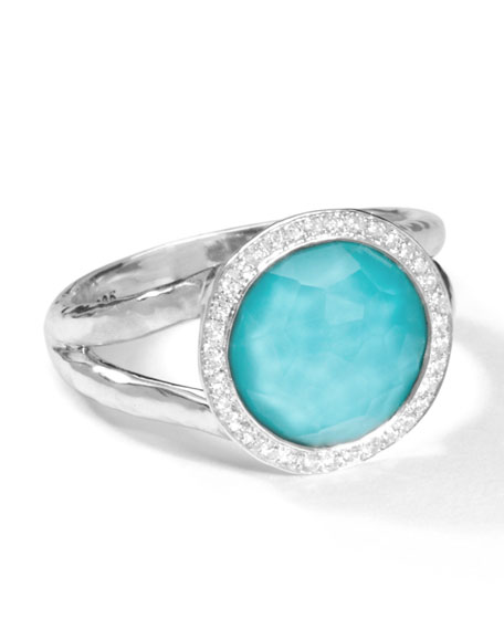 Stella Mini Lollipop Ring in Turquoise Doublet with Diamonds, 0.15ctw