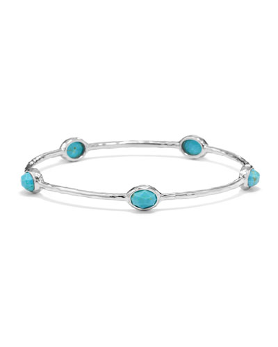 Sterling Silver Rock Candy 5-Stone Bangle in Turquoise (Size 1)