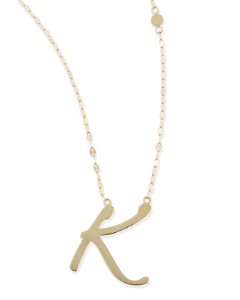 14k Gold Initial Letter Necklace, K