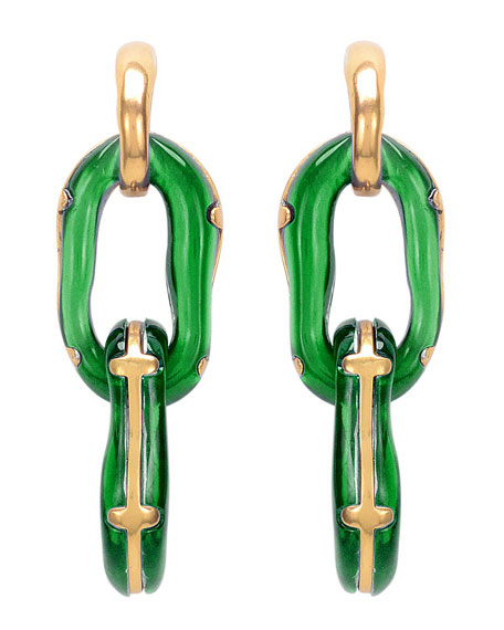 Resin Link Clip-On Earrings, Green