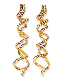 Oscar de la Renta Pave Crystal Spiral Earrings