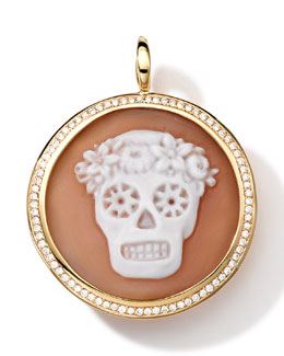 Ippolita 18k Gold Round Skull Cameo Charm with Diamonds