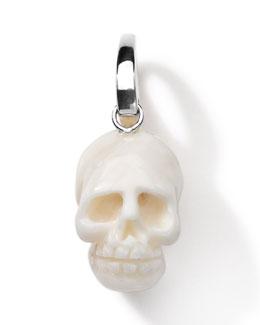 Sterling Silver Skull Charm, White Jade