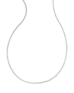 Silver Thin Charm Chain Necklace, 36