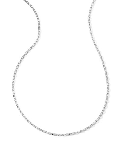 Silver Oval-Link Charm Chain Necklace, 36""