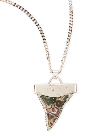 Silvertone Doubled Shark Tooth Necklace, Jasper/Rhodonite