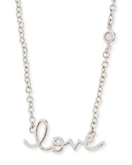 Rhodium Love Pendant Bezel Diamond Necklace