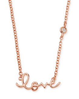 SHY by Sydney Evan Rose Gold Love Pendant Bezel Diamond Necklace
