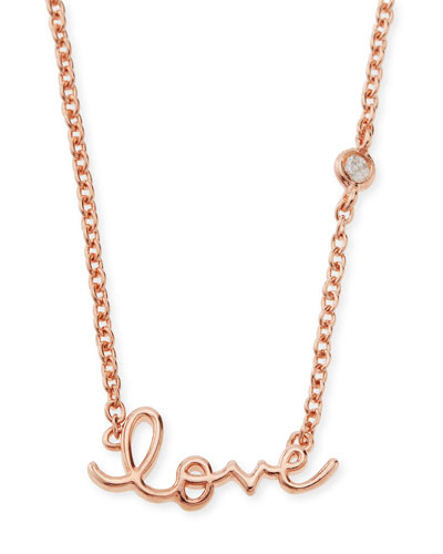 Rose Gold Love Pendant Bezel Diamond Necklace