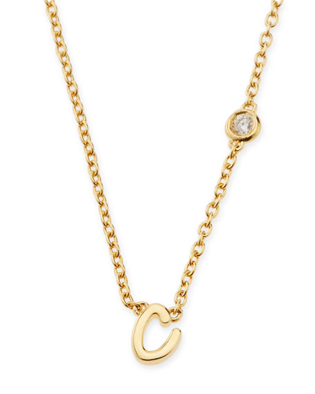 C Initial Pendant Necklace with Diamond