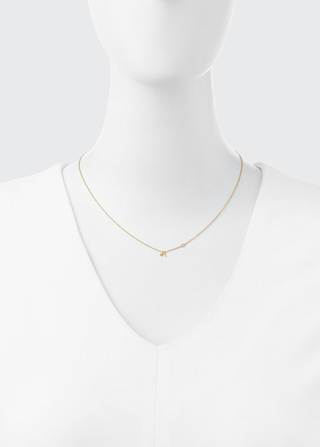 K Initial Pendant Necklace with Diamond
