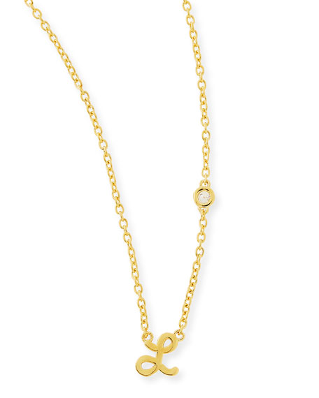 L Initial Pendant Necklace with Diamond