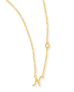 N Initial Pendant Necklace with Diamond