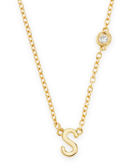 S Initial Pendant Necklace with Diamond