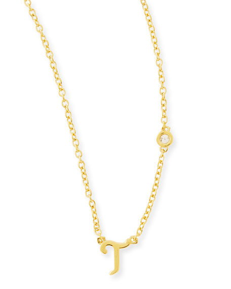 T Initial Pendant Necklace with Diamond