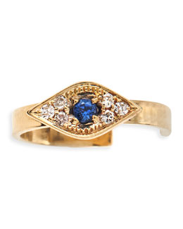 Sydney Evan Single Evil Eye Earring Cuff with Sapphires and Diamonds