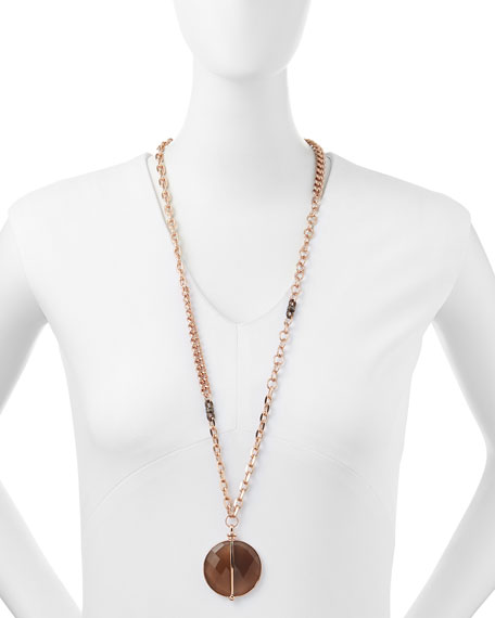 14k Rose Gold Plate & Agate Necklace, 34""