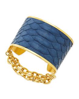 Paige Novick 14k Gold Plate & Python Cuff, Blue